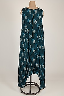 Blue Printed Jumpsuit With Scalloped Neckline by 17:17