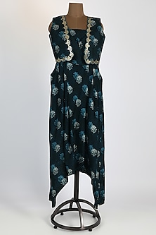 Blue Printed Jumpsuit With Embellished Jacket by 17:17