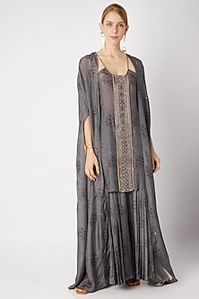 Grey Embroidered Palazzo Set With Kimono by 17:17