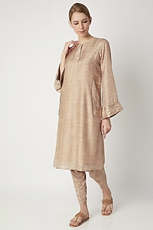 Beige Hand Embroidered Kurta With Pants by 17:17