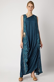Turquoise Embroidered Cowl Dress With Cardigan by 17:17