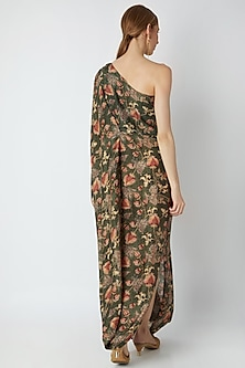 Olive Green Embroidered & Printed Dress by 17:17