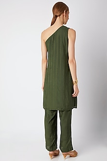 Olive Green Embroidered Kurta With Pants by 17:17