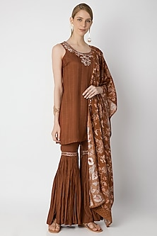 Brown Embroidered Sharara Set by 17:17