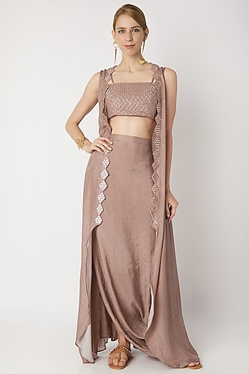 Nude Embroidered Bustier With Cowl Skirt & Cardigan by 17:17