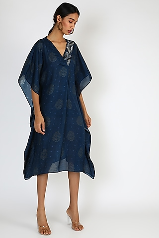 Dark Blue Printed & Embroidered Kaftan Dress by 17:17