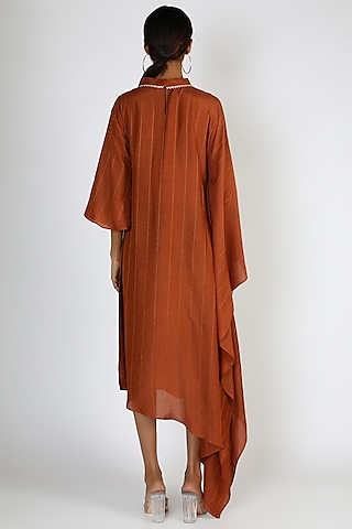 Brown Embellished Kaftan Kurta by 17:17