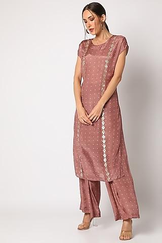 Old Rose Pink Embroidered & Bandhani Printed Kurta Set by 17:17