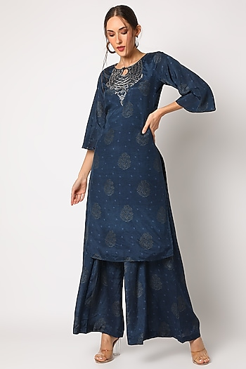 Dark Blue Embroidered & Printed Pant Set by 17:17