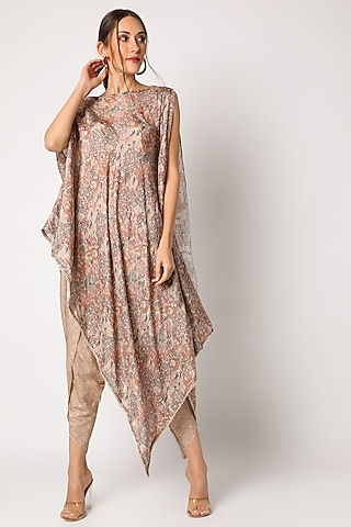Beige Embroidered & Printed Kurta Set by 17:17