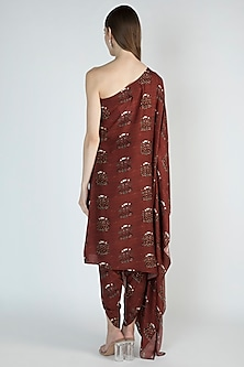 Rust Printed One Shoulder Tunic With Pants by 17:17