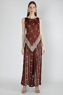 Rust Printed Top With Palazzo Pants by 17:17