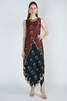 Rust Embroidered Printed Kurta With Falls by 17:17