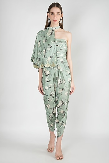 Pastel Green Tulip Jumpsuit With Embroidered Half Cape by 17:17
