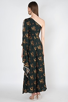 Dark Green Printed & Embroidered Jumpsuit by 17:17