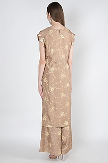 Rose Gold Printed & Embroidered Kurta With Pants by 17:17