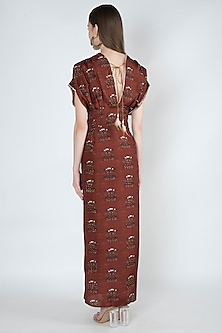 Rust Printed & Embroidered Dress by 17:17