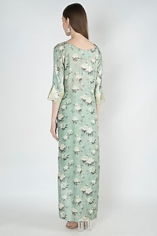 Pastel Green Printed Cape Top With Tulip Pants by 17:17