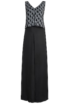 Black Embroidered Maxi Dress by In my clothes by Shruti S