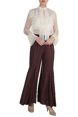 Chocolate Brown Bell-Bottom Pants by In my clothes by Shruti S