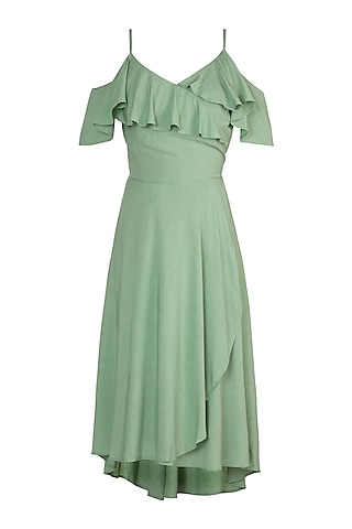 Moss Green Wrap Dress by In my clothes by Shruti S