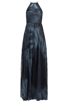 Black Tie-Dye Halter Neck Maxi Dress by In my clothes by Shruti S