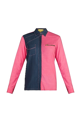 Pink Half & Half Denim Shirt by In my clothes by Shruti S