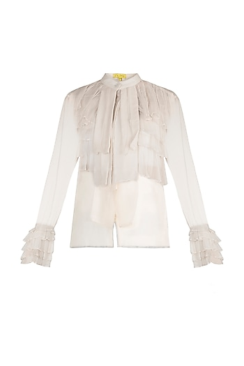 Ivory Sheer Ruffled Shirt by In my clothes by Shruti S