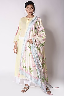 Yellow Pintuck Kurta With Printed Dupatta by Sage Saga