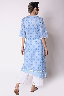 Sky Blue Printed High-Low Kurta With Dupatta by Sage Saga