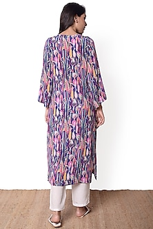 Purple & White Printed Kurta Set by Sage Saga