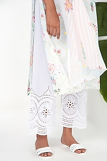 Ivory Embroidered Palazzo Pants by Sage Saga