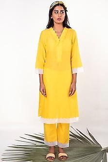 Yellow Scallop Embroidered Kurta by Sage Saga