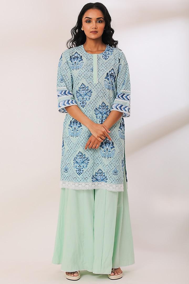 Mint Cotton Striped Gharara Set by Sage Saga