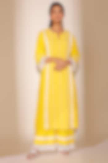 Yellow Striped Kurta Set by Sage Saga