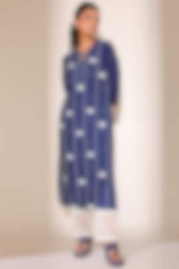 Blue Striped Kurta Set by Sage Saga