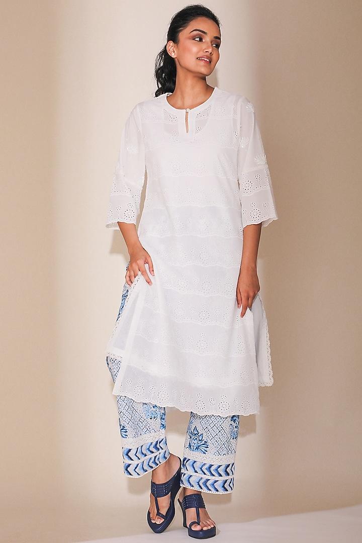 White Hand Embroidered Kurta Set by Sage Saga