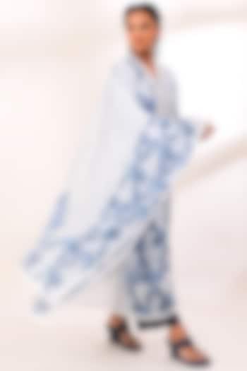 White & Blue Printed Dupatta  by Sage Saga