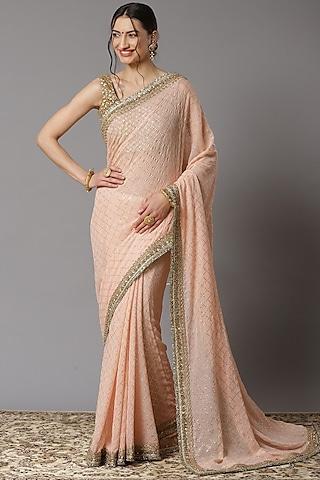 Pink Dabka Embroidered Saree Set by Shikhar Sharma