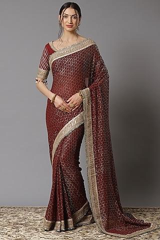 Maroon Embroidered Saree Set by Shikhar Sharma