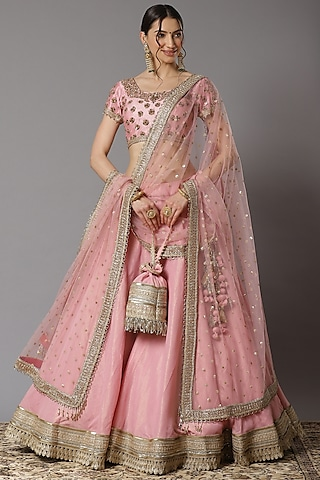 Pink Embroidered Lehenga Set by Shikhar Sharma
