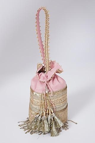 Pink Machine Embroidered Potli by Shikhar Sharma
