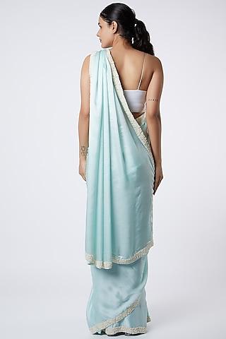 Sky Blue Saree With Pearl Work by Soshai