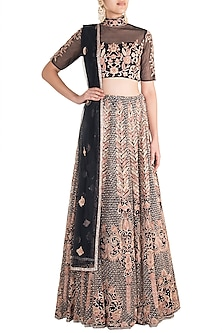 Midnight Blue & Rose Gold Embroidered Lehenga Set by Soshai