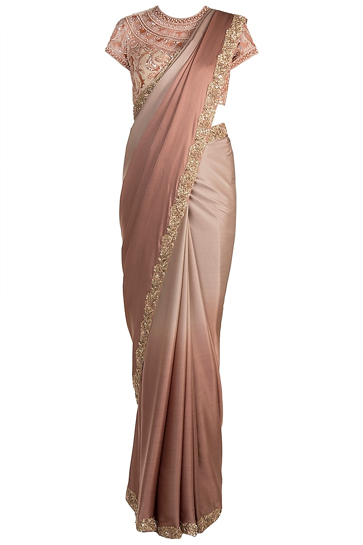 Brown Ombre Hand Embroidered Saree Set by Soshai