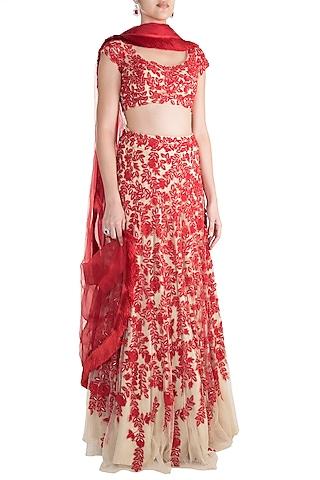 Red & Skin Embroidered Lehenga Set by Soshai