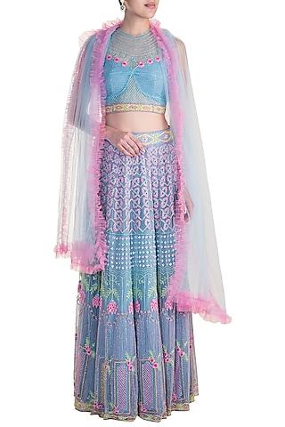 Blue & Pink Embroidered Lehenga Set by Soshai