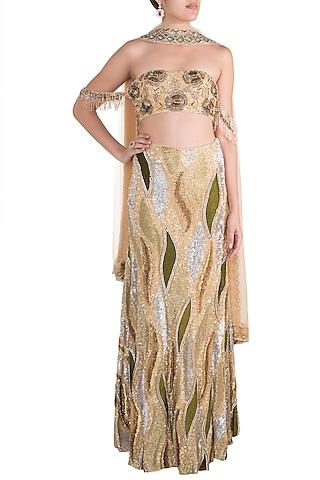 Skin & Gold Embroidered Lehenga Set by Soshai