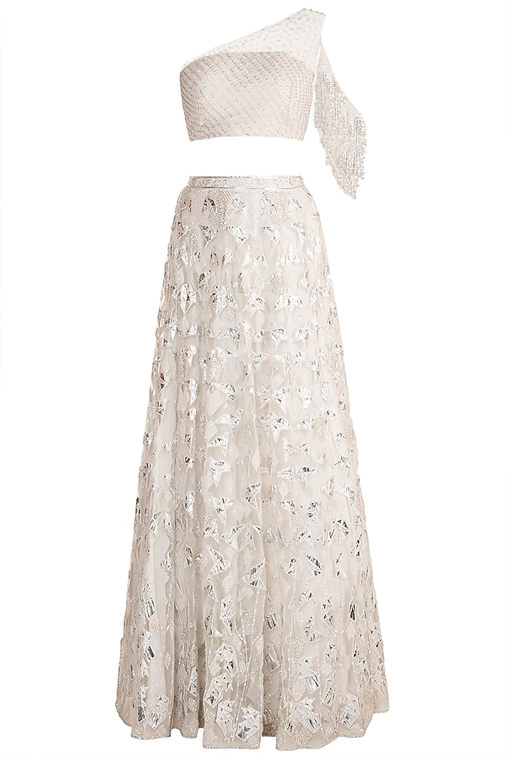 White Embroidered Lehenga Set by Soshai
