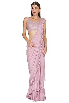 Lilac Embroidered Ruffle Saree Set by Seep Mahajan